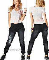 Zumba Fitness 2pc.set Black Denim Stretch Pants & Burn Out V Tee Rare S & M