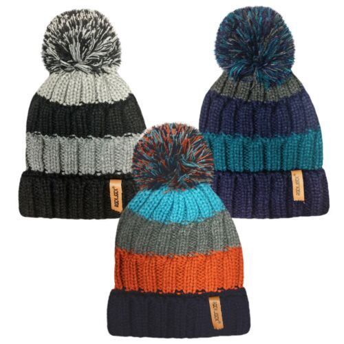 BOYS RIBBED STRIPED WINTER HAT WITH ROCKJOCK THERMAL INSULATION 3 COLOURS HAI408