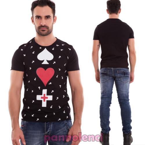 Maglia uomo maglietta t-shirt cotone manica corta cuore picche nuova 0307-MOD