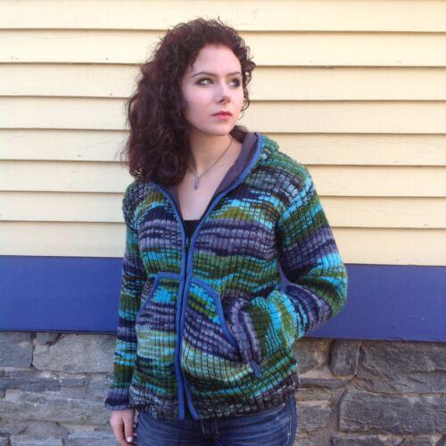 polaire laine et doublé en laine verte Cardigan bleue en XTnCHq