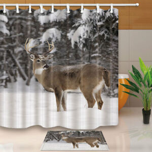 Image Is Loading White Tailed Deer Shower Curtain Bathroom Waterproof Fabric