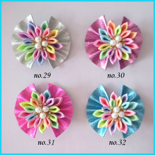 "50 BLESSING Good Girl Fashion 3/"" Fan Flower Hair Bow Clip Baby Spangle Flash PU"