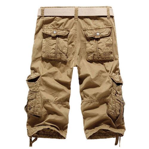 Men Elasticated Waist Cotton Cargo Combat 3//4 Long Length Summer Shorts Pants si