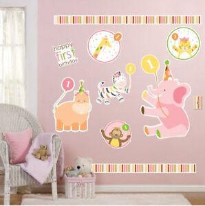 A Imagem Esta Carregando SAFARI ANIMALS Wall Stickers MURAL Baby Girl 039