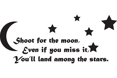 SHOOT FOR THE STARS..  WALL STICKER ART DECALS QUOTE