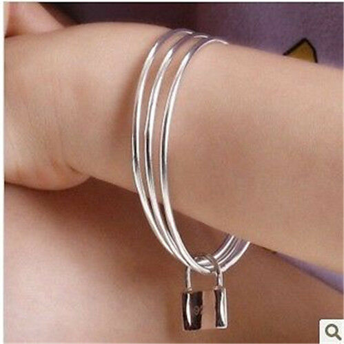 Wholesale Fashion 925Solid Silver Bangle Lady//Mens Silver Bracelet Gift Jewelry