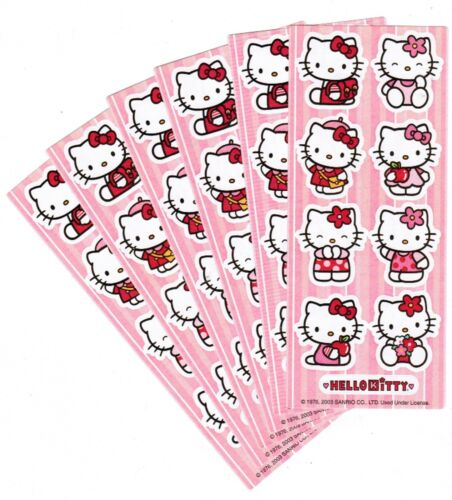 6 Small Sheets Sanrio HELLO KITTY Scrapbook Stickers 2003 Backpack Apple Flowers