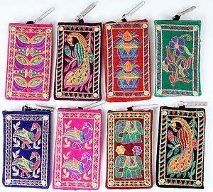 Geldbörsen & Etuis Handytasche Aus Samt In 8 Designs Handarbeit Aus Indien TÄschchen Handy Bag Angenehme SüßE