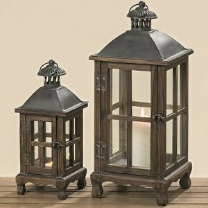 laternen set holz 30 und 50 cm braun laterne deko holz metall neu ebay. Black Bedroom Furniture Sets. Home Design Ideas