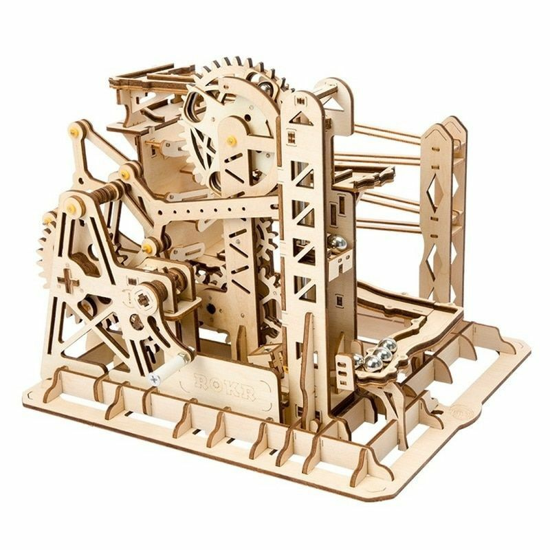 Marble Run Game DIY Waterwheel Coaster 3D Wooden Model Creative Steampunk Toy
