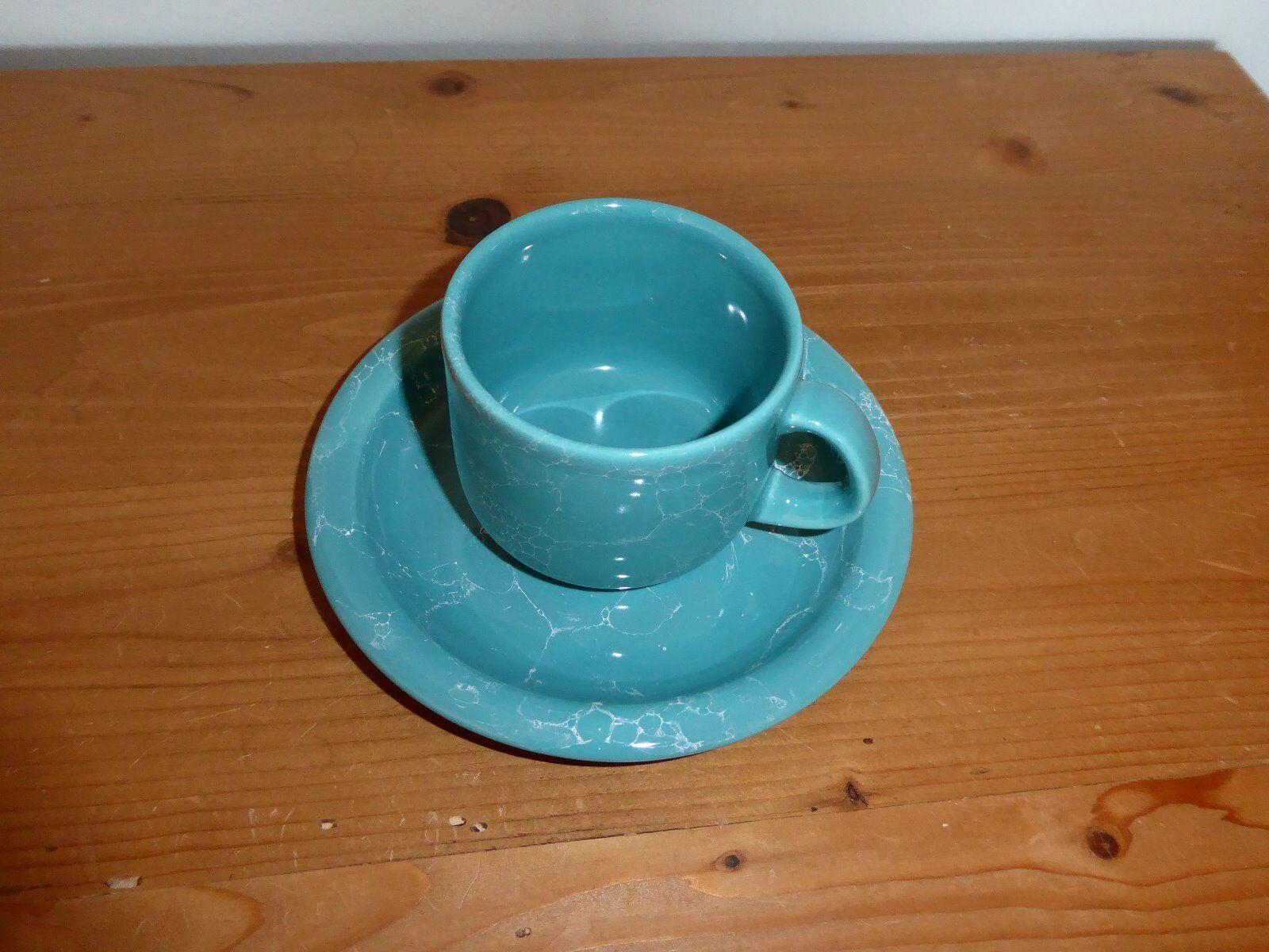 Wächtersbach Keramik, 6 Kaffeetassen mit Untertassen, türkis türkis türkis weiß marmoriert | Hohe Qualität und günstig  7d5123