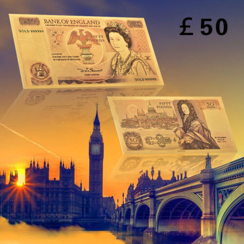 WR 1980s British 50 Pound Bank Notes Gold Foil Banknote Rare Collection