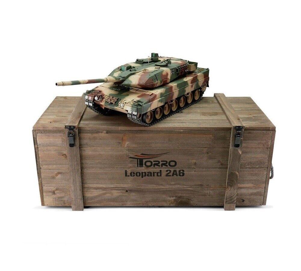1 16 Torro Leopard 2A6 RC Tank 2.4GHz Infrarosso  Metal edizione PRO Summer Camo  omaggi allo stadio