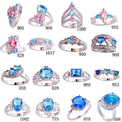 Pink & Blue & White Topaz Gemstones Silver Women Ring Size 6 7 8 9 10 11 12 13