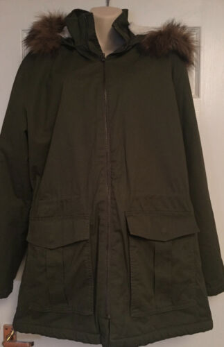 Parka L Fur Gap New With Brand Hood Women's Jacket Size wf7q55a