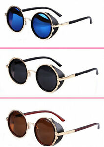 698c68c82fc4 Image is loading Mirror-lens-Round-Glasses-Cyber-Goggles-Steampunk- Sunglasses-