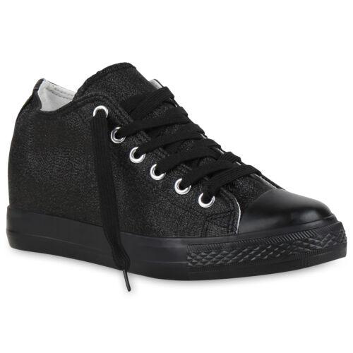 Sneaker-Wedges Damen Keil Absatz Turnschuhe 90/'s Look Freizeit 814466 Trendy