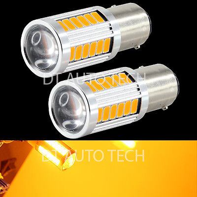 2X 1156 Projector 5630 Chip LED Yellow/Amber Turn Signal Brake Tail Lights Bulbs