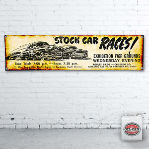 STOCK-CAR-RACING-Banner-heavy-duty-for-workshop-garage-man-cave-1200x305mm