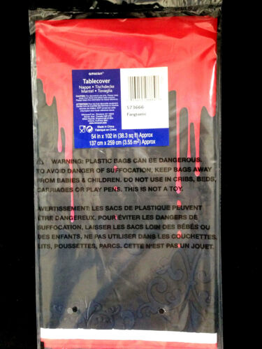 Gothic Horror-BLACK BLOODY DRIPS DOOR WALL TABLE COVER-Haunted House Decoration