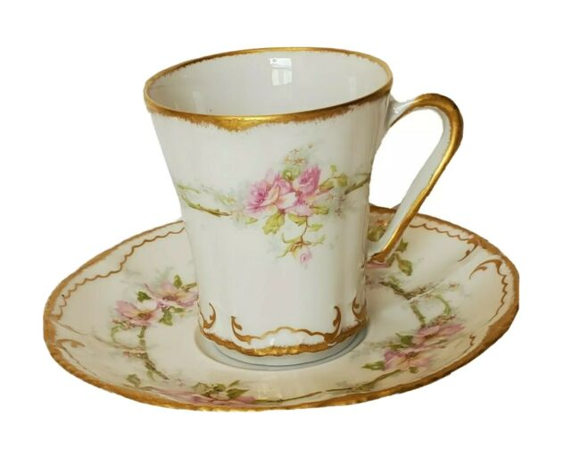ANTIQUE LIMOGES FRANCE THEODORE HAVILAND PINK ROSE BOUQUET CHOCOLATE CUP SAUCER