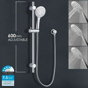 Adjustable Shower Rail Massage Hand Held Head Brass Holder Wall Elbow Chrome AU