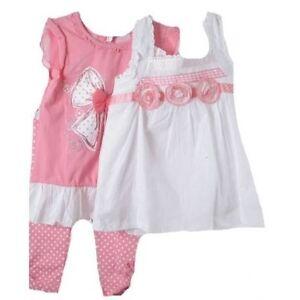 Precious-Little-Girls-Pink-amp-White-3-Pc-Boutique-Lace-Tops-Leggings-Set-Nannette