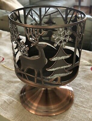 BATH /& AND BODY WORKS DANCING PENGUINS 3 WICK CANDLE HOLDER SILVER GLITTERY NEW