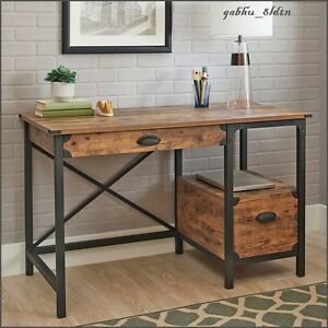 Industrial Computer Desk Writing Rustic Workstation ...