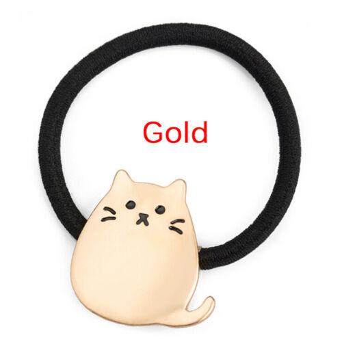 Frauen Mädchen Metall Katze Haarband Haar Seil elastische Krawatte Pferdesc  sg