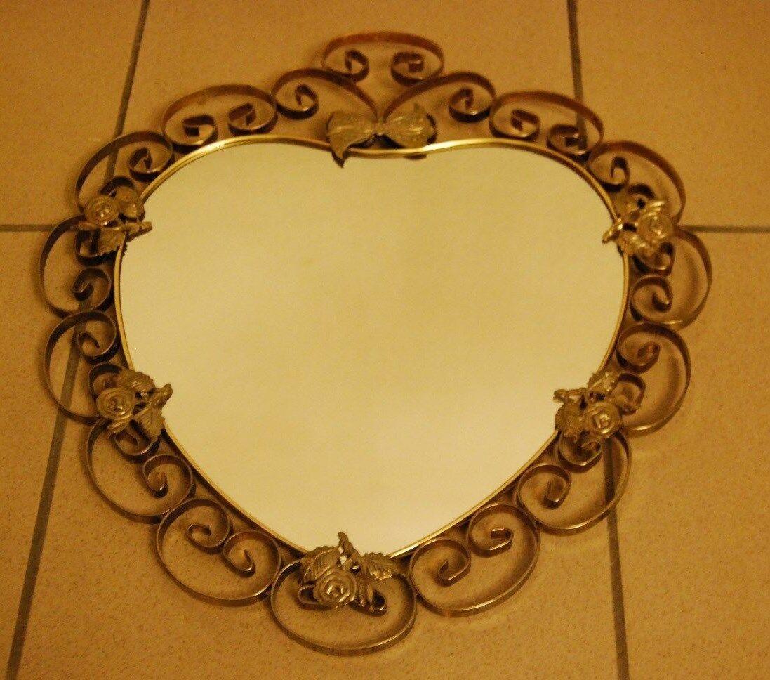 E1 Miroir coeur - style baroque français - métal - spiegel - mirror