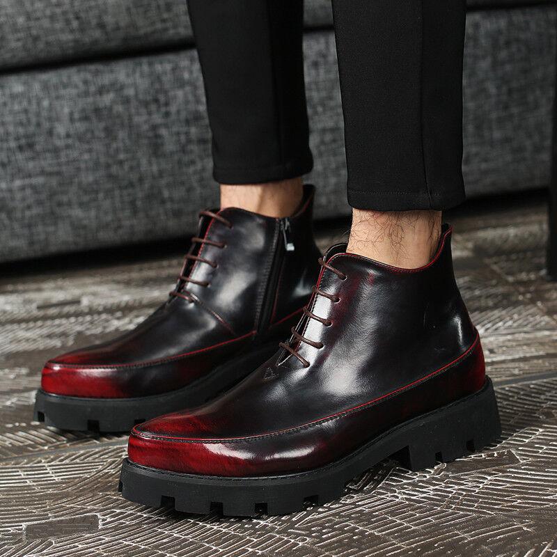 Vestido al aire libre de invierno de hombre con cremallera lateral con Cordones Alto Top Zapatos botas de talón bajo formal