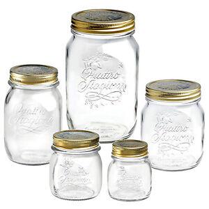 4-x-Bormioli-Rocco-Quattro-Stagioni-Food-Preserve-Jars-Gold-Screw-Lid-Airtight