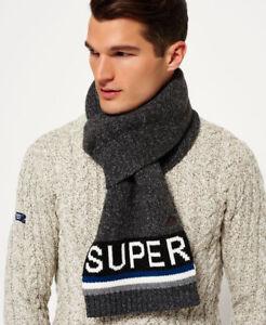 New-Mens-Superdry-Super-S-D-Logo-Scarf-Charcoal-Twist