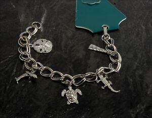 537944df395 Image is loading Vintage-Charm-Bracelet-Ocean-Theme-Dolphin-Sand-Dollar-