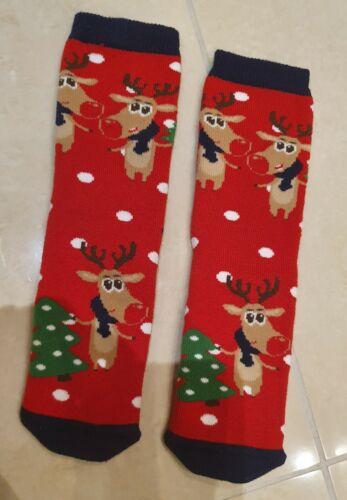 Enfants Adultes Garçons Filles Noël Chaussons chaussettes anti glisse UE 25-41 UK 7inf-8
