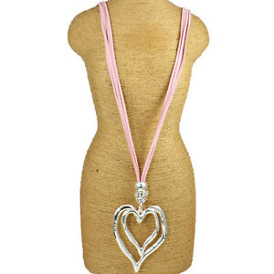 Lagenlook-Large-chunky-double-heart-silver-pendant-CZ-pink-suede-long-necklace