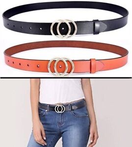 4b385052f Genuine Leather Women Double O-Style Gold Buckle Slim Belts For ...