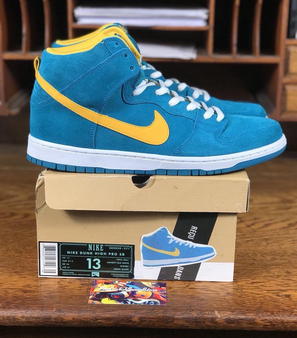 Nike SB Dunk High Premium Tropical Teal Gold Mens Skate Shoe 305050-371 Size 13