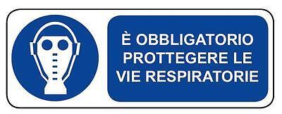 330x125mm Cartello segnaletica obbligo protezione vie respiratorie alluminio