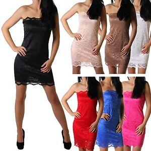 Damen Dress Kleid Bandeau kurz unifarben Minikleid Spitze Kleider 7gbf6IyYv
