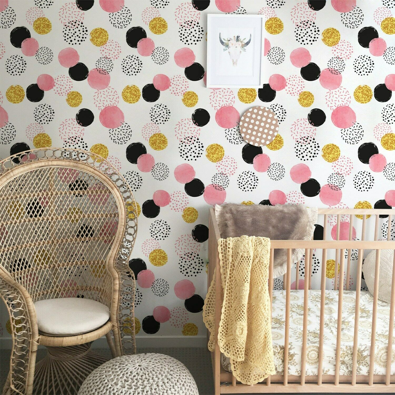 Cute Dots Non-Woven wallpaper Simple wall mural Geometric Home decor Roll