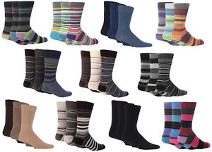 3-Pair-Men-039-s-Giovanni-Cassini-Designer-Cotton-Socks-Striped-and-Plain-UK-6-11