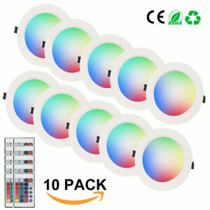 1-20PCS-10W-RGB-LED-Ceiling-Light-Fixture-Recessed-Downlight-Panel-Lamp-Remote