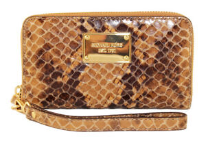 NWT $109 Michael Kors Python Large Wallet Phone Case Leather Wristlet Clutch NEW