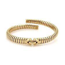 Bulgari Bvlgari 18K Yellow Gold Tubogas Hearts Open Flex Band Bracelet