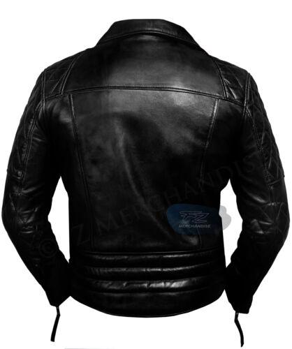 Negro Hombres de Retro Motocicleta Chaqueta Racer Vintage Brando cuero Biker Real Moto r0WOw0qTfa