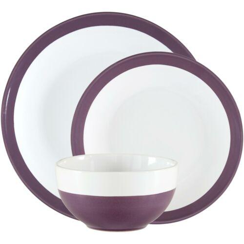 12 Pieces Round Ceramic Dinnerware Set Home Kitchen Stoneware Dish NEW