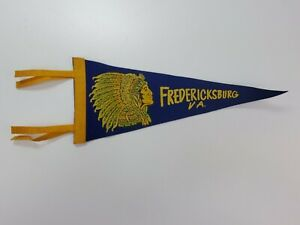 Vintage-Fredericksburg-VA-11-034-Felt-Pennant-Blue-Yellow-w-Native-American