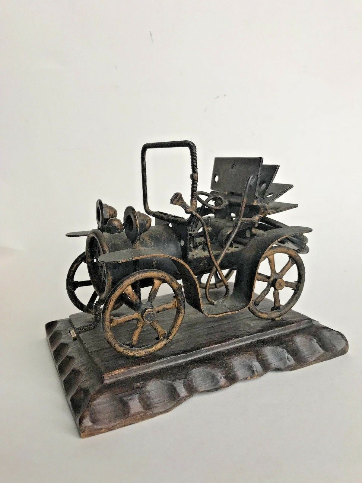 FOLK-ART Vintage MODEL 'T'CAR Handmade Scrap Hardware Pieces Free Shipping
